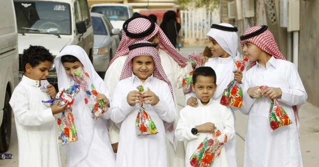 Saudi boys celebrate Eid al-Fitr in Riyadh