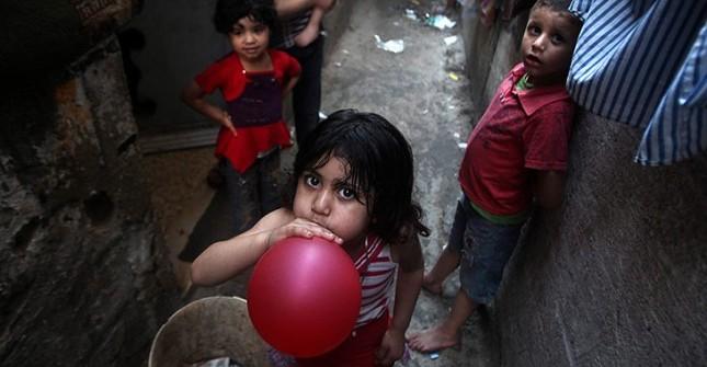 Palestinian children in Jabaliya refugee camp in the northern Gaza Strip